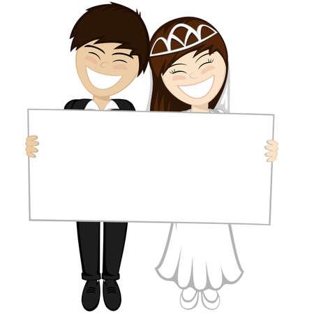 茶髪: 美しいブルネットの花嫁、花婿茶色髪スーツの笑顔幸せな新婚夫婦は、大きなホワイト ボードを保持しています。  イラスト・ベクター素材