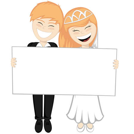 bridegroom: Happy newlyweds smiling ginger A beautiful bride and the bridegroom are holding a big white board
