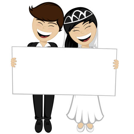 bridegroom: Happy newlyweds smiling A beautiful black haired bride and bridegroom in the suit are holding a big white board Illustration