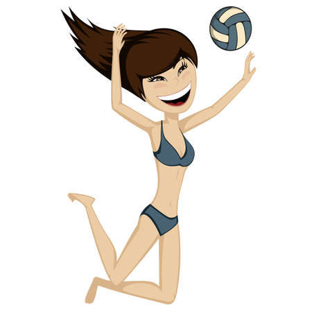 sexy girl bikini: Volleyball Sporty Girl brunette girl plays beach volleyball summertime illustration Illustration