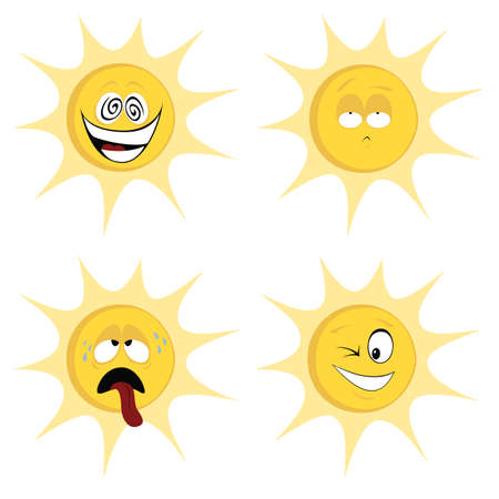 huffy: Summer sun mascots - Collection of four colored cute emoticons icons sun character with different facial expression