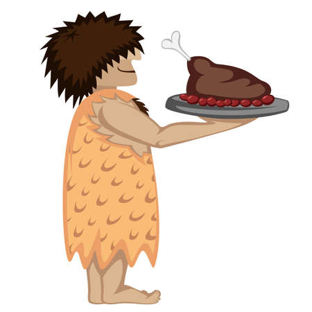 Prehistoric waiter with a tray and paleo food cartoon style