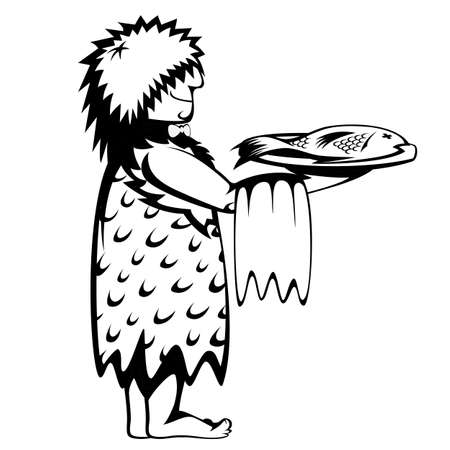 sapiens: Silhouette of waiter with a tray of prehistoric fresh fish and a cartoon style