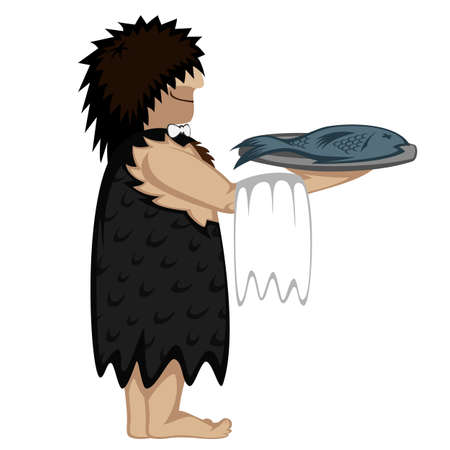 disheveled: Prehistoric waiter with a tray of fresh fish and cartoon style