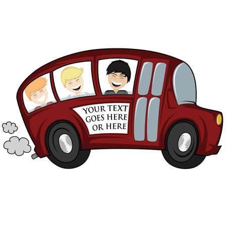 triplet: Funny illustration of a school bus with children boys - you can place any text on