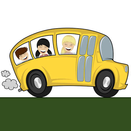 Funny illustration of a school bus with children