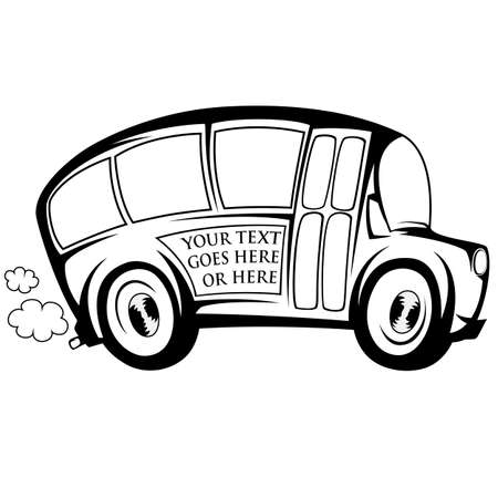 triplet: Silhouette of a school bus - you can place any text on Illustration