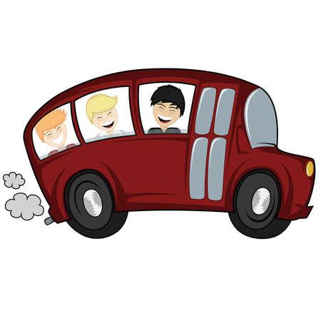 Funny illustrazione di un bus della scuola con i bambini ragazzi Archivio Fotografico - 44242859