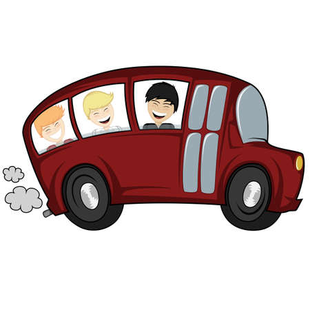 Funny illustration of a school bus with children boys