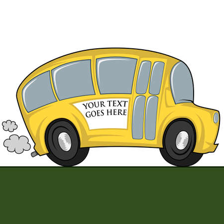 triplet: Funny illustration of a school bus - you can place any text on