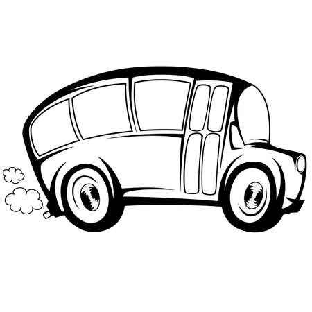 triplet: Silhouette illustration of a school bus