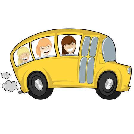 triplet: Funny illustration of a school bus with children girls