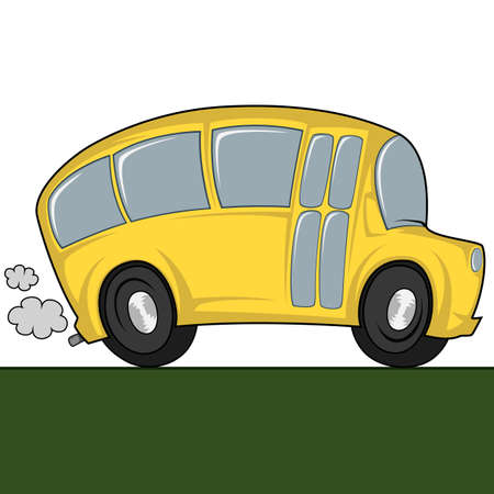 triplet: Funny illustration of a school bus