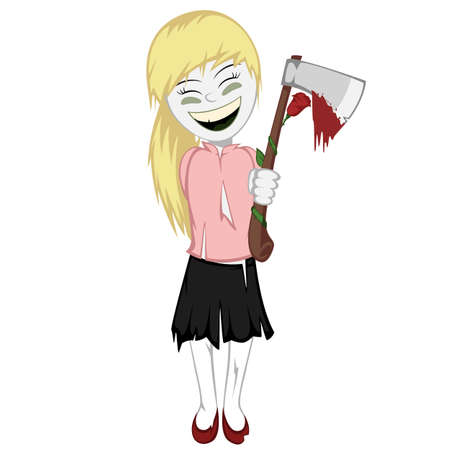 corpse flower: Zombie girl with surprise - Lovely little zombie girl gives you a bloody ax with a rose
