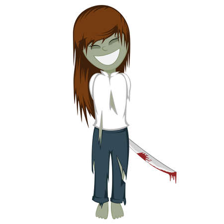 machete: Zombie girl with surprise - Lovely little brunette girl with a machete zombie behind her back