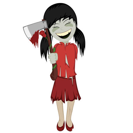 corpse flower: Zombie girl with surprise - Lovely little black haired zombie girl gives you a bloody ax with a rose