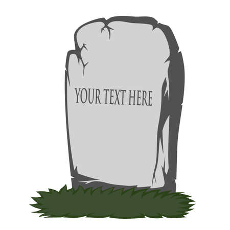 gravestone: The gray gravestone with grass - you can place your text Illustration