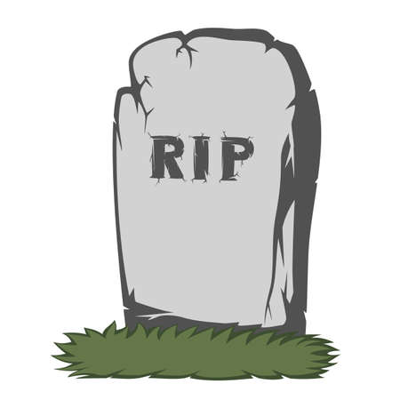 A gravestone with grass and gray text RIP Illustration