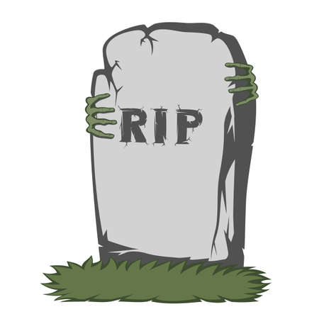 gravestone: The grass and gray gravestone with RIP and text scary fingers Illustration
