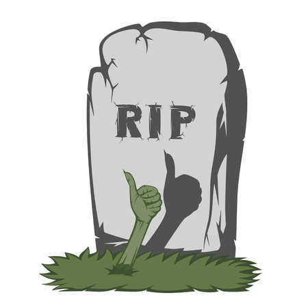 rip off: The gray gravestone with RIP and grass scary text and showing fingers from the grave number one sign