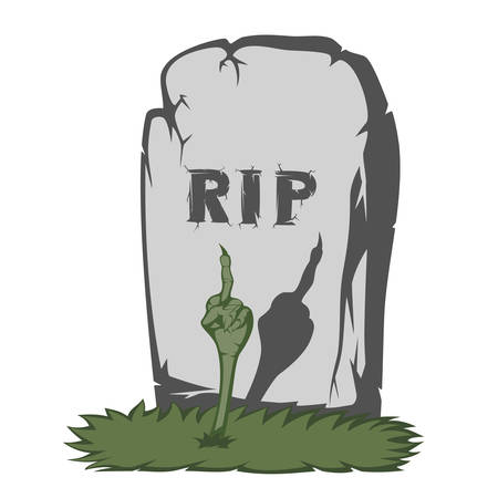 rip off: The gray gravestone with RIP and grass scary text and fingers from the grave showing the international fuck off sign