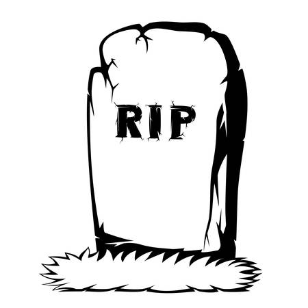 rip: Silhouette of grass and the gray gravestone with RIP black and white text
