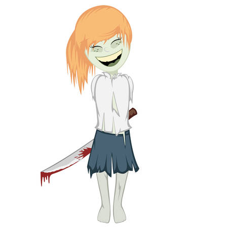 massacre: Zombie girl with surprise - ginger Lovely little zombie girl with the machete behind her back Illustration