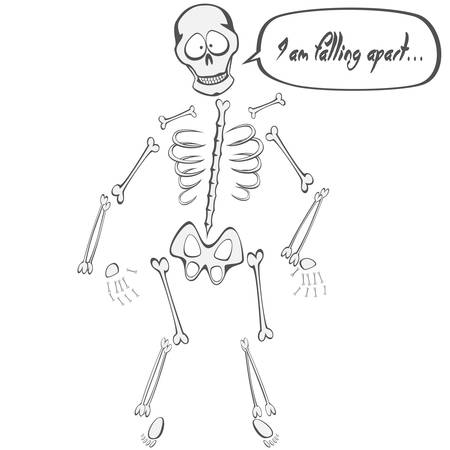 falling apart: Skeleton Buddy - A funny skeleton mascot is falling apart Illustration