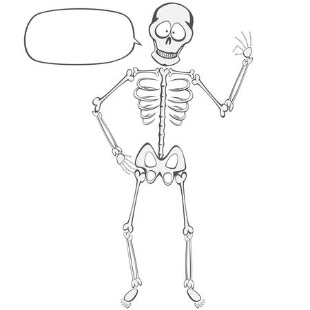 Skeleton Buddy - A funny skeleton standing and showing ok sign with a speech bubble you can put your text on!