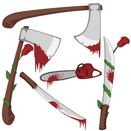 bloodshed: Bloody set of weapons - Variation of bloody axes, machetes and a chainsaw