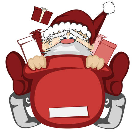 santa sleigh: Santa Claus in action - Santa sleigh is out of control