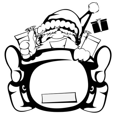 clamber: Santa Claus in action - Santa sleigh is out of control black and white silhouette Illustration