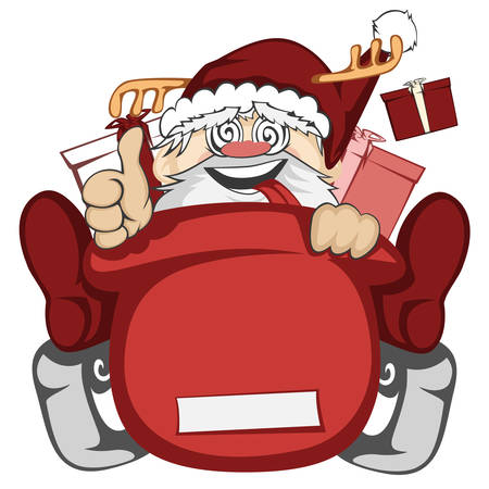 legs up: Santa Claus in action - Santa sleigh is out of control crazy with Santa deer antler