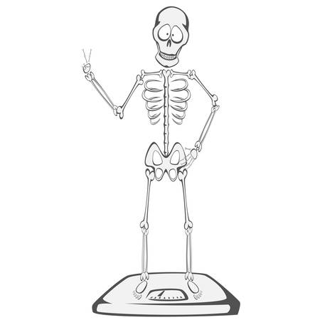 buddy: Skeleton Buddy - A skeleton is standing on a scale and showing victory sign successful diet