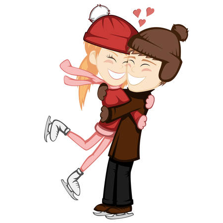 Winter hugs - A lovely ice skater couple is embracing and smiling in a brown haired ginger girl and boy.