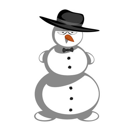 snowman cartoon: Mr snowman - Gangster snowman with tie and gangster edition of six. Illustration