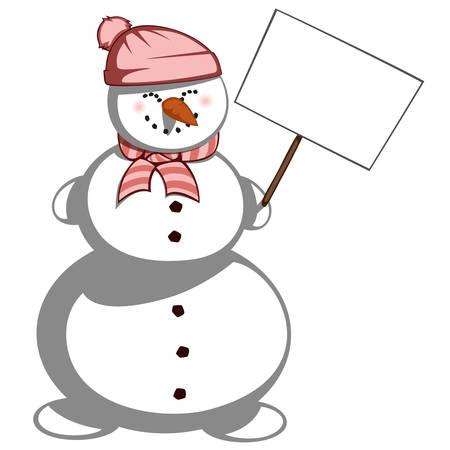 zanahoria caricatura: La se�ora Snowman - Un mu�eco de nieve lindo en bufanda y se�ora sombrero est� sonriendo y sosteniendo un tablero de anuncios.