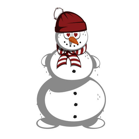 mr: Mr snowman - Snowman in love with the cup and heart shaped eyes and a scarf.