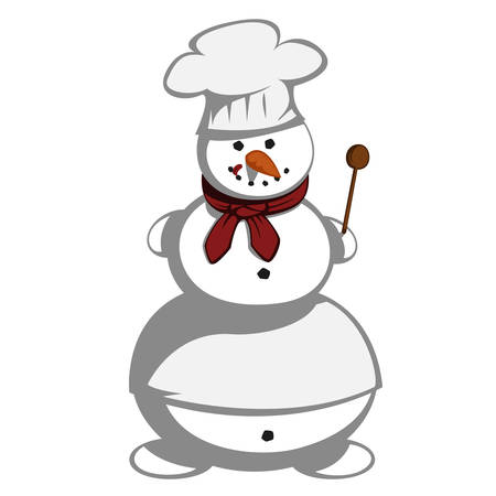 master chef: Mr snowman - Snowman is a master chef in the kitchen with an apron and a chef spoon six. Illustration