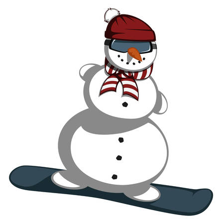 zanahoria caricatura: Sr. mu�eco de nieve - Sr. Snowman se desliza sobre tablas de snowboard.