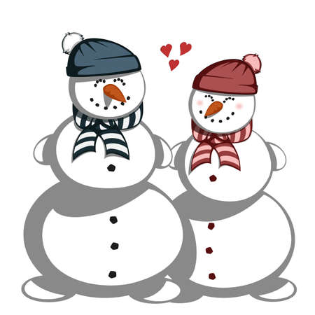 white family: Mr. and Mrs. Snowman - snowman couple in love.