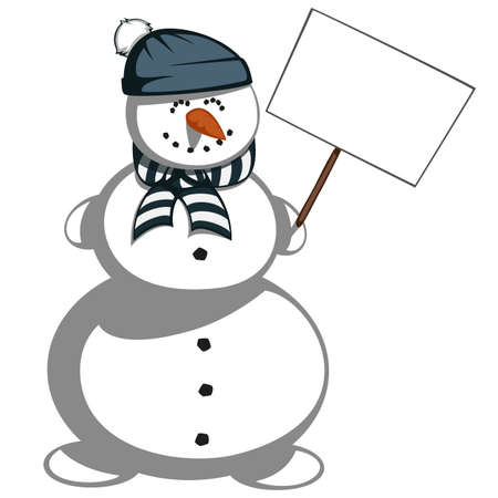 bulletin board: Mr. snowman - A cute snowman in scarf and hat is smiling and holding a bulletin board.