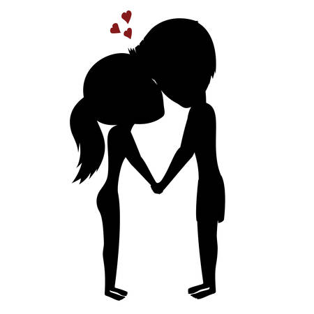 couple holding hands: Couple holding hands - Silhouette of a happy couple with hearts