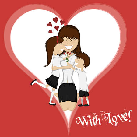 brunette: A cute brunette girl and boy hug their brunette mom with love (with backgorund). Illustration