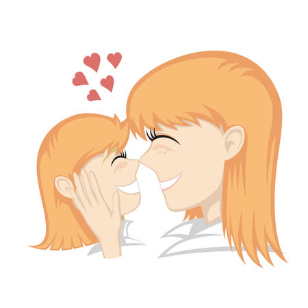 fondle: A cute ginger girl and ginger mothers faces (mother caresses).