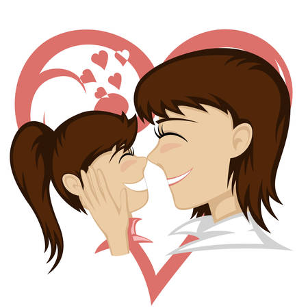 caresses: A cute brunette girl and brunette mothers faces (mother caresses with a big heart ornament in background).