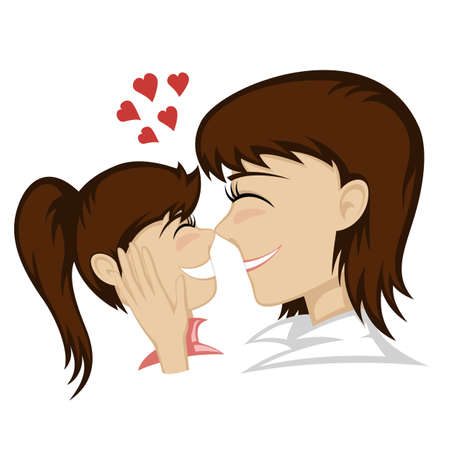 caresses: A cute brunette girl and brunette mothers faces (mother caresses).
