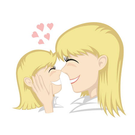 happy family smiling: A cute blonde girl and blonde mothers faces (mother caresses).