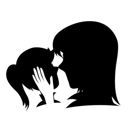 caresses: Silhouette of a caring mother caresses her daughters head (isolated on white).