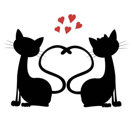 enamorados cartoon gatos lindos , Silueta del gato de una pareja en el amor